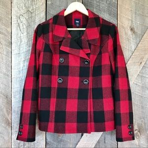 GAP double breasted plaid jacket